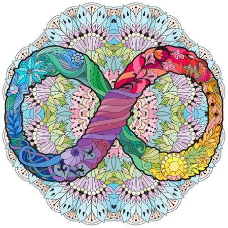 Vector ornamental infinity symbol styled on the mandala. Eternal life sign. Hand-drawn infinity.