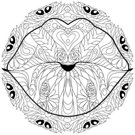 lips on mandala. Hand Drawn lace vector illustration for coloring