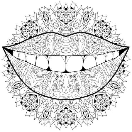 Smile styled on mandala for t-shirt design, tattoo and other decorations 矢量图像