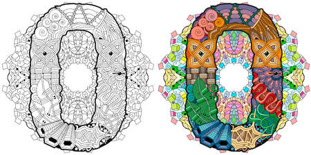 Hand-painted art design. Illustration mandala with numero zero. Colored and outline set