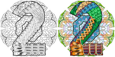 Hand-painted art design. Illustration mandala with numero two. Colored and outline set