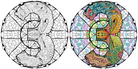 Hand-painted art design. Illustration mandala with numero three. Colored and outline set Vettoriali