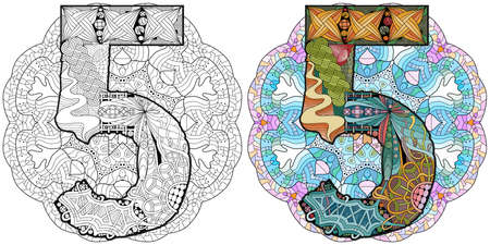 Hand-painted art design. Illustration mandala with numero five. Colored and outline set