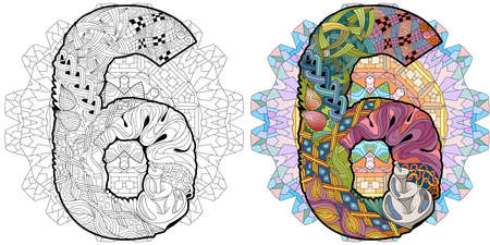 Hand-painted art design. Illustration mandala with numero six. Colored and outline set