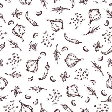 白い背景の上のスパイスのシームレスなパターン。Pparsley、ニンニク、クローブ、コショウ。テキスタイル、ファブリック、レストラン、ショップの