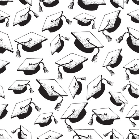 Graduate doodle black hat seamless pattern with diploma, graduation caps thrown in the air, square academic cap, mortarboard for college, university students, education concept, white background