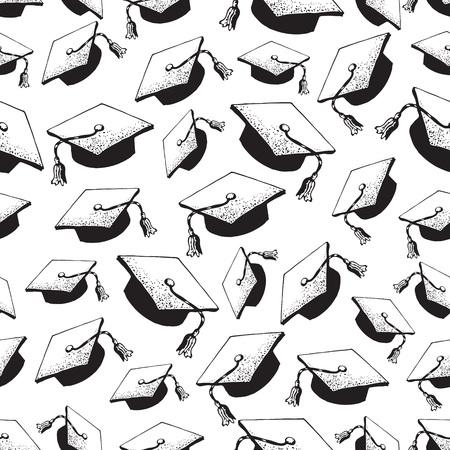 Modèle sans couture de chapeau noir doodle diplômé avec diplôme, casquettes de graduation jetées en l'air, casquette académique carrée, mortier pour collège, étudiants universitaires, concept d'éducation, fond blanc