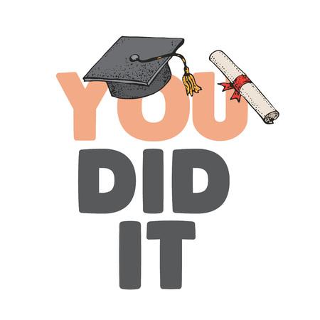 Lo hizo concepto de texto de estudiante blanco con toga y birrete tradicional celebrando la graduación exitosa. Ilustración de estilo de tipografía aislada sobre fondo blanco. Estudiante graduado de la Universidad Ilustración de vector