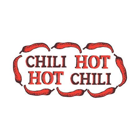 Vector illustration with red hot chili pepper. Spices isolated on white background with brown words. Lettering composition. Vector illustration for textile, fabric, restaurant, shop, t-shirt. Ilustração Vetorial