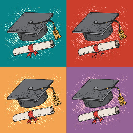 Pop art vector background with Graduate cartoon black hat with diploma, graduation caps, square academic cap, university students, education concept.