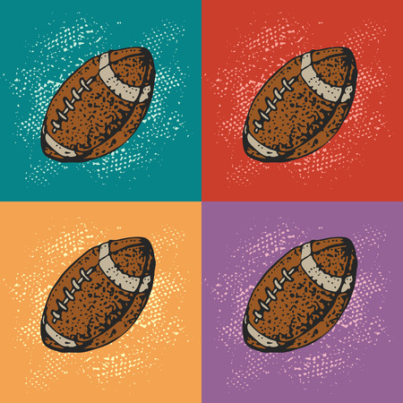 Pop art vector background with cartoon american football ball. Rugby sport. Cartoon style pattern.