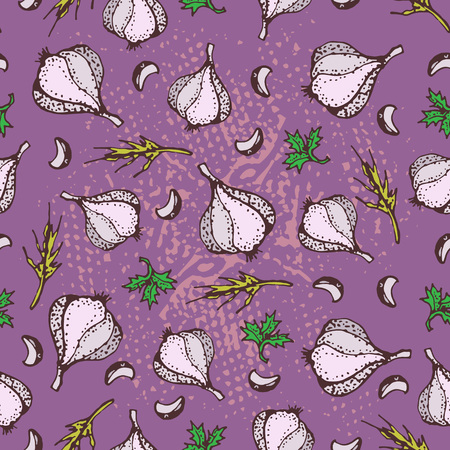 Spices seamless pattern on a purple background. Pparsley, garlic, cloves, pepper. Cartoon style illustration. Background for textile, fabric, restaurant, shop.
