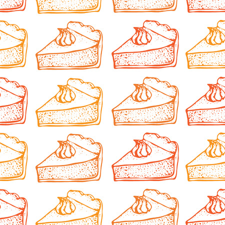 Pumpkin pie with cream seamless pattern. Hand drawn sketch of the pie piece. Thanksgiving Day vector illustration. For identify the restaurant, packaging, menu design