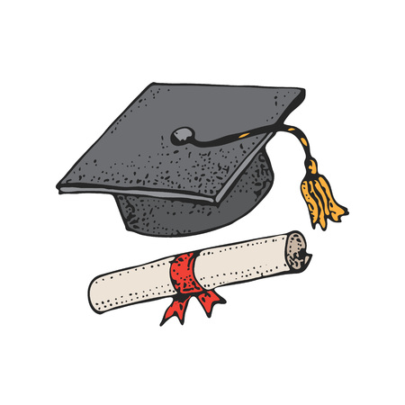 Graduate cartoon black hat pattern with diploma, graduation caps, square academic cap, mortarboard for college, university students, education concept, isolated on white background.