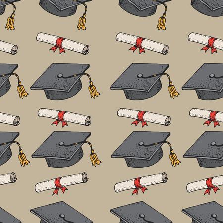 Graduado doodle sombrero negro de patrones sin fisuras con diploma, gorras de graduación, gorra académica cuadrada, birrete para la universidad, estudiantes universitarios, concepto de educación, fondo de vector Ilustración de vector
