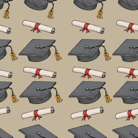 Graduate doodle black hat seamless pattern with diploma, graduation caps, square academic cap, mortarboard for college, university students, education concept, vector background