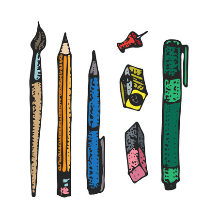 Hand drawn cartoon stationery set. Vector doodle illustration. Set of school accessories and supplies. Tools composition. Pen, pencil, marker, liner, sharpener, brush. Back to school design elements.