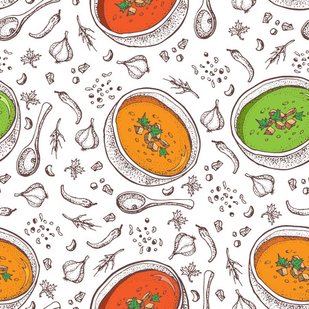 Cream soup vector seamless pattern. Isolated hand drawn bowl of soup, spoon and spices. Pumpkin soup, tomato soup, broccoli soup. Vegetable doodle style background. Detailed vegetarian food sketch. Vettoriali