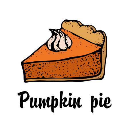 Pumpkin pie with cream isolated on a white background. Hand drawn sketch of the pie piece. Thanksgiving Day vector illustration. For identify the restaurant, packaging, menu design Vektorové ilustrace
