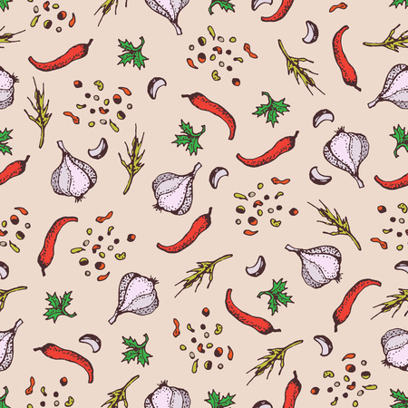 Spices seamless pattern on a beige background. Pparsley, garlic, cloves, pepper. Cartoon style illustration. Background for textile, fabric, restaurant, shop.