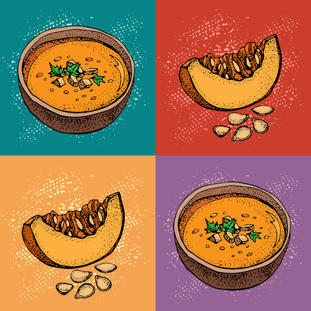 Pop art Pumpkin cream soup vector drawing set. Hand drawn bowl of soup, sliced piece of pumpkin and seeds. Vegetable cartoon style background. Detailed vegetarian food sketch pattern. Archivio Fotografico - 110197744