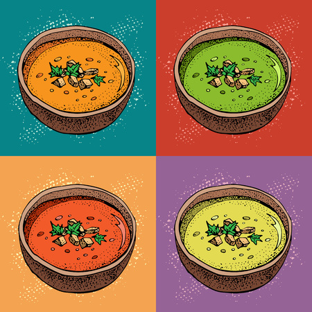 Cream soup vector background. Hand drawn bowl of soup with spices. Pumpkin, tomato, broccoli soup. Vegetable pop art style pattern. Detailed vegetarian food sketch. Vettoriali