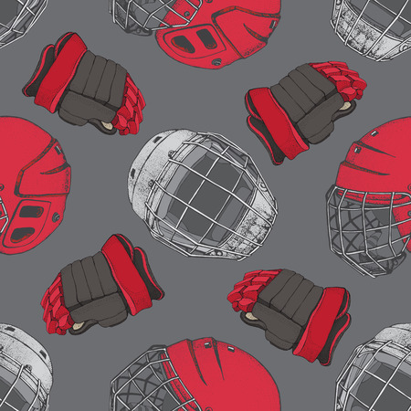 Hockey seamless pattern. Red Helmet with mask and gloves on grey bacground. Sports Vector illustration. Ice hockey sports equipment. Hand drawn Hockey helmet and gloves..