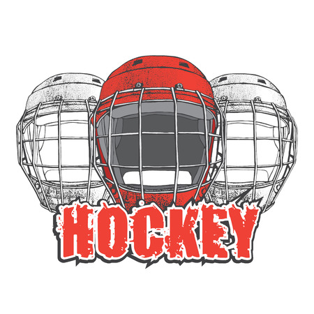 Hockey Helmets with mask. Side view. Sports Vector illustration isolated on white background. Ice hockey sports equipment. Hand drawn red helmet in cartoon style..