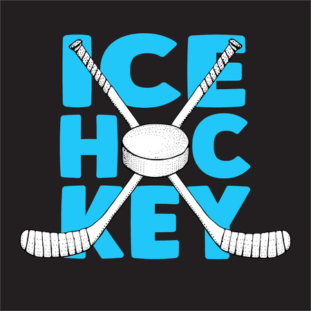 Ice Hockey sticks with puck. Sports illustration on black background. Ice hockey sports equipment. Hand drawn stick in sketch style. Vector for poster, t-shirt, textile.