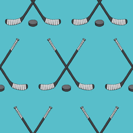 Ice Hockey stick with puck seamless pattern. Sports Vector illustration isolated on blue background. Ice hockey sports equipment. Hand drawn stick in cartoon style. Stock Illustratie