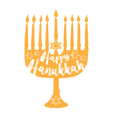 Jewish holiday Hanukkah greeting. Traditional Chanukah symbols isolated on white -  menorah candles, star David glowing lights. Festival of lights. Typography illustration. Vector template. Illustration