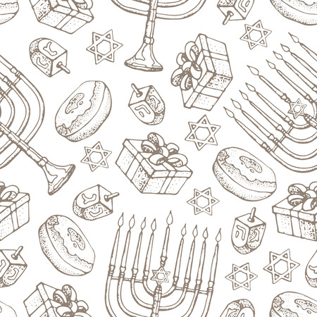 Jewish holiday Hanukkah seamless pattern. Set of traditional Chanukah symbols isolated on white - dreidels, sweets, donuts, menorah candles, star David glowing lights. Doodle Vector template..