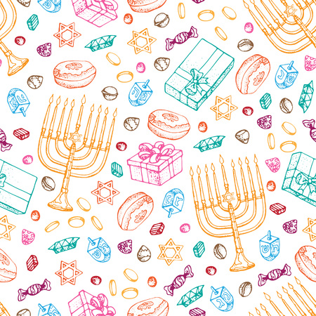 Jewish holiday Hanukkah seamless pattern. Set of traditional Chanukah symbols isolated on white - dreidels, sweets, donuts, menorah candles, star David glowing lights. Doodle Vector template.