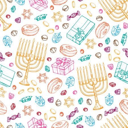 Reticolo senza giunte di festa ebraica di Hanukkah. Set di simboli tradizionali Chanukah isolati su bianco - dreidels, dolci, ciambelle, candele menorah, luci incandescenti della stella David. Modello di vettore di scarabocchio.