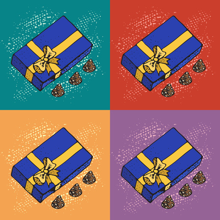 Pop art Vector Illustration of Boxes with chocolate candys on colorfull background. Pattern For Birthday Celebration, Christmas, Valentines, Party, Anniversary, Hanukkah and Eid Mubarak ..