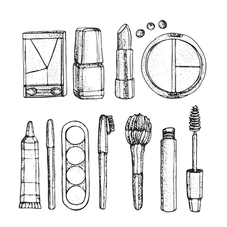 Beauty store collection with make up. Hand drawn beauty, make up, cosmetic doodles, isolated vector illustrations on a white background