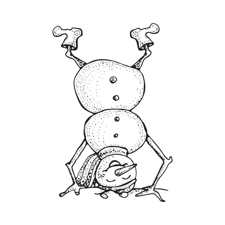 Funny Snowman upside down in sketched style. Cute winter holiday icon. Black line ink person in hat and knitted scarf. Vector hand drawn doodle illustration isolated on white background.