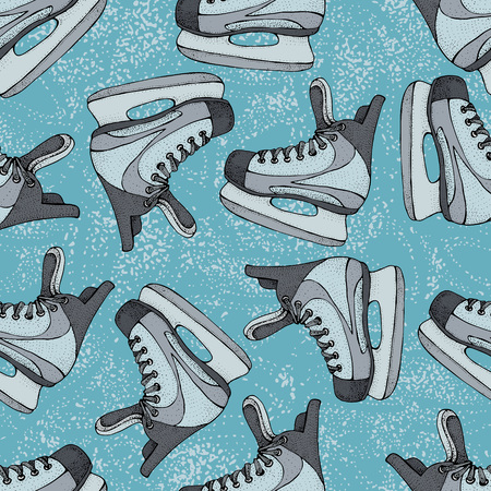 Winter holidays seamless pattern with ice skates cartoon sketch. Red and blue Ice hockey skates. Vector illustration with sports equipment on blue background Illustration