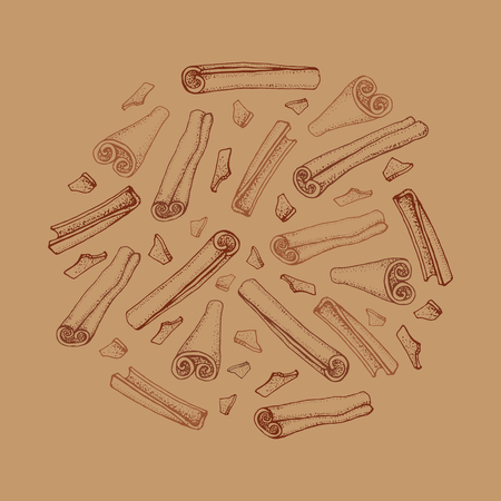 Cinnamon sticks. Vector drawing of aromatic spices set. Seasonal food illustration on brown background. Hand drawn sketch of spice and flavor. Cooking and mulled wine ingredient. Çizim