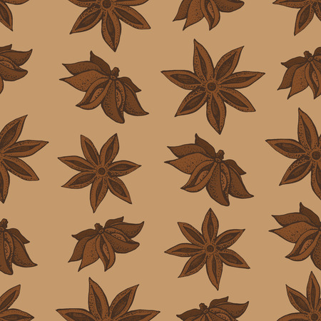 Anise star, badian seamless pattern. Seasonal food vector illustration on brown background. Hand drawn doodles of spice and flavor. Cooking and mulled wine ingredient