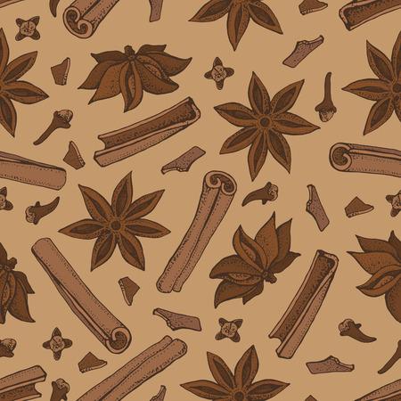 Bastoncini di cannella, stella di anice e chiodi di garofano senza cuciture. Illustrazione di vettore di cibo stagionale isolato su priorità bassa marrone. Scarabocchi disegnati a mano di spezie e sapore. Ingrediente di cottura e vin brulè Vettoriali
