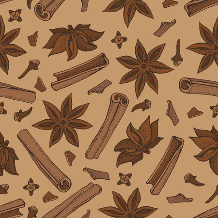 Cinnamon sticks, anise star and cloves seamless pattern. Seasonal food vector illustration isolated on brown background. Hand drawn doodles of spice and flavor. Cooking and mulled wine ingredient