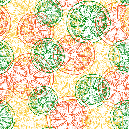 Vector seamless pattern with hand drawn citrus fruit, slices pieces sketch. Mandarin orange, tangerine, lime, lemon, grapefruit. Detailed vegetarian food  illustration. Иллюстрация