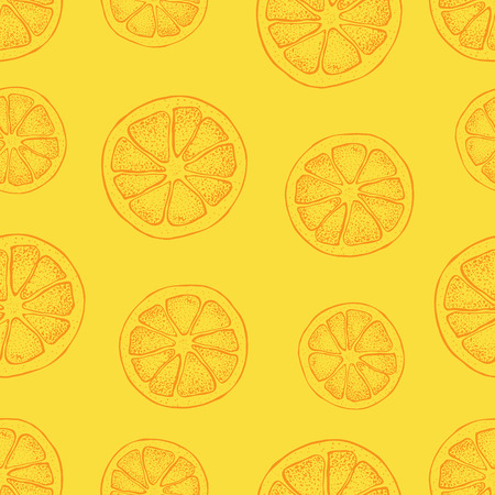 Vector seamless pattern with hand drawn citrus fruit, slices pieces sketch. Mandarin orange, tangerine on yellow background. Detailed vegetarian food  illustration.