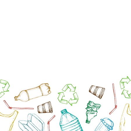 Hand drawn doodle plastic pollution seamless pattern. Vector illustration sketchy symbols collection. Bag, Bottle, Package, Contamination, disposable dish, straw. Plastic products recycling