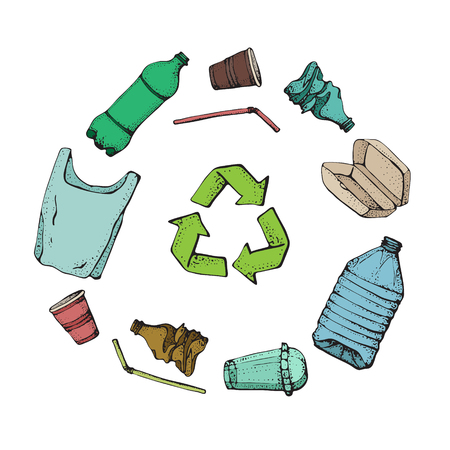 Plastic products recycling. Hand drawn doodle plastic pollution icons set. Vector illustration sketchy symbols collection. Bag, Bottle, Package, Contamination, disposable dish, straw