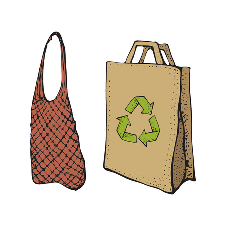 Own textile and Paper recycled bags. Sketch doodle illustration isolated on white. Bring your own bag. Bpa and plastic free concept. Reusable or plastic free shopping bag, say no to plastic concept