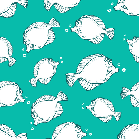 Seamless vector pattern with animals under water. Hand drawn Sea or ocean fish on blue background