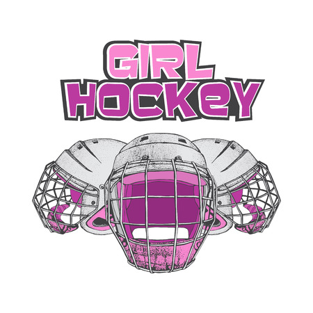 Vector hockey girl lettering. Isolated pink hockey helmets with mask for woman on white background. Ice hockey sports equipment. Hand drawn helmet in sketch style