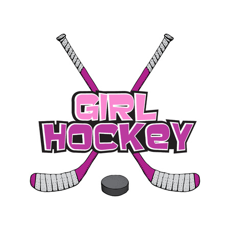 Pink Ice Hockey stick with puck. Hockey girl lettering.